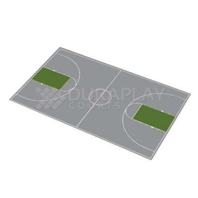 50 ft. 6 in. x 83 ft. 11 in. Gray and Slate Green Full Court Basketball Kit