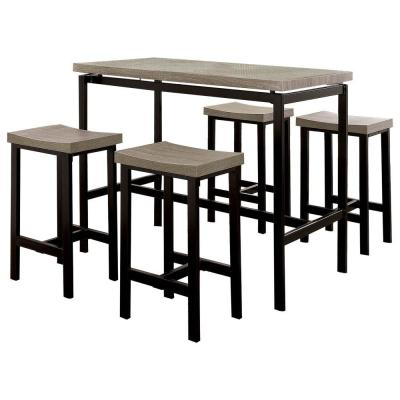 Natural Brown and Black 5-Piece Wooden Counter Height Table Set