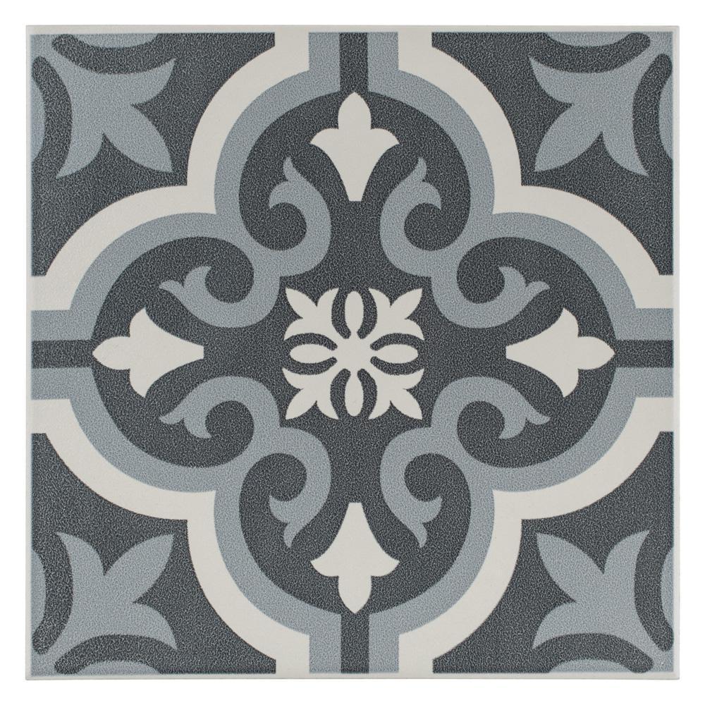Braga Black Encaustic 7-3/4 in. x 7-3/4 in. Ceramic Floor and Wall Tile (10.76 sq. ft. / case)