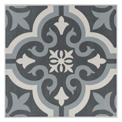 Braga Black Encaustic 7-3/4 in. x 7-3/4 in. Ceramic Floor and Wall Tile (10.76 sq. ft. / case)