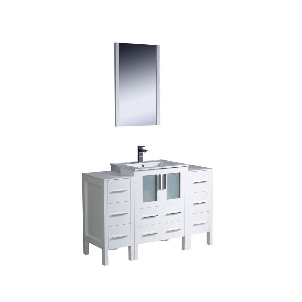 Torino 48 in. Vanity in White with Ceramic Vanity Top in White with White Basin and Mirror with 2 Side Cabinets
