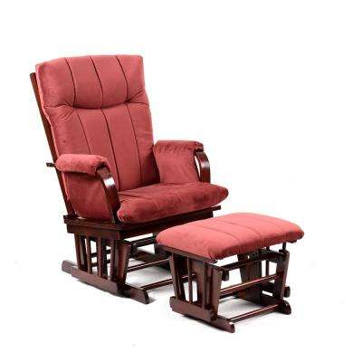 Home Deluxe Marsala Super Soft Microfiber and Cherry Wood Glider and Ottoman Set