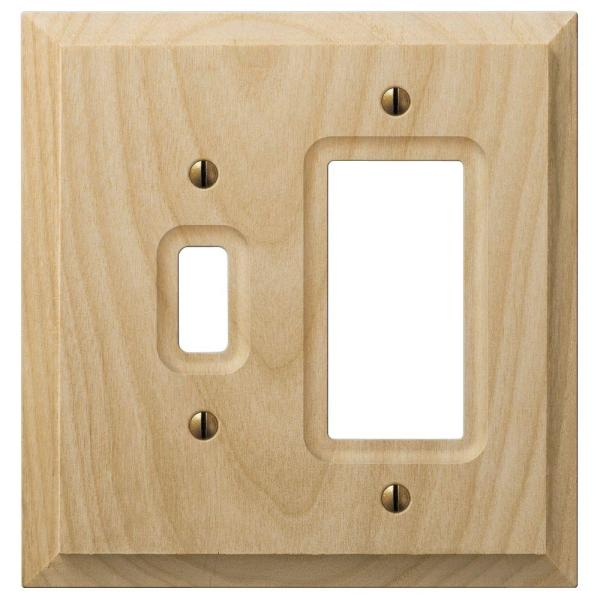 Cabin 2 Gang 1-Toggle and 1-Rocker Wood Wall Plate - Unfinished