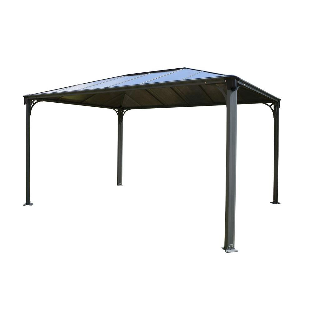 Palram martinique 4300 14 ft x 10 ft aluminum frame rectangle gazebo 702564 the home depot - Build rectangular gazebo guide models ...