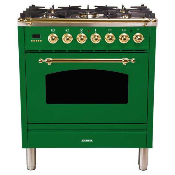 30 in. 3.0 cu. ft. Single Oven Dual Fuel Italian Range with True Convection, 5 Burners, Brass Trim in Emerald Green