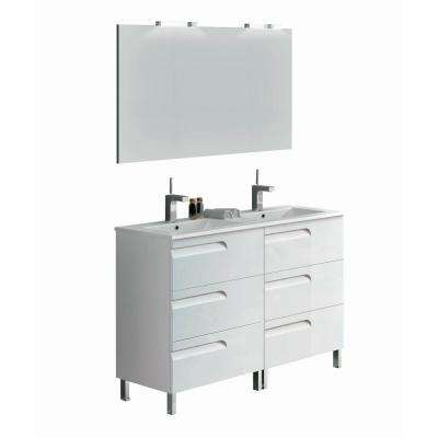 Vitta 48 in. W x 18 in. D x 34 in. H Vanity in White with Porcelain Top in White with White Basin