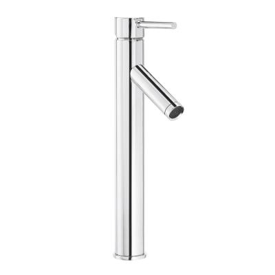 Modern Single Hole Single-Handle Vessel Bathroom Faucet in Chrome with Drain