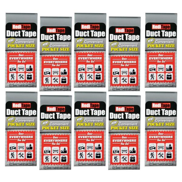 RediTape Pocket Size Duct Tape in Silver (10-Pack)
