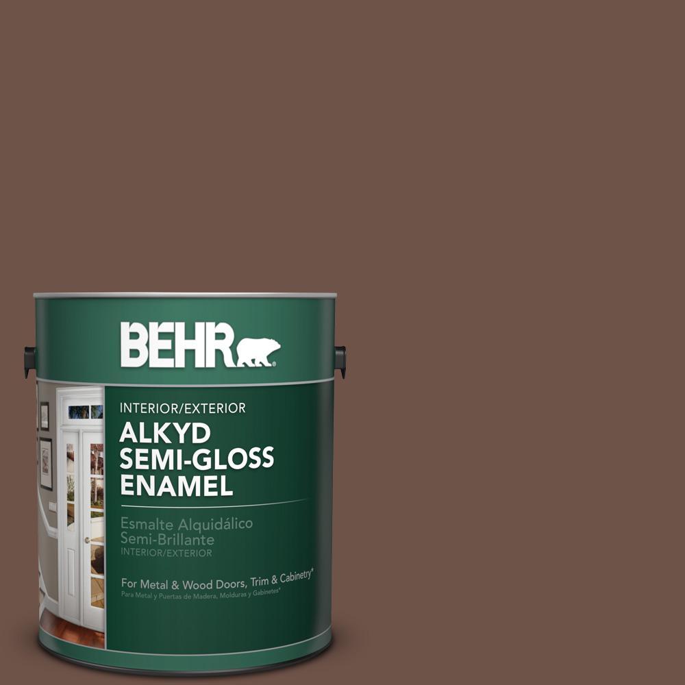 1 gal. #N230-7 Rustic Tobacco Semi-Gloss Enamel Alkyd Interior/Exterior Paint
