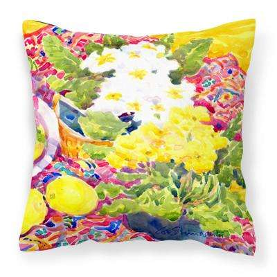14 in. x 14 in. Multi-Color Lumbar Outdoor Throw Pillow Flower Primroses Decorative Canvas Fabric Pillow