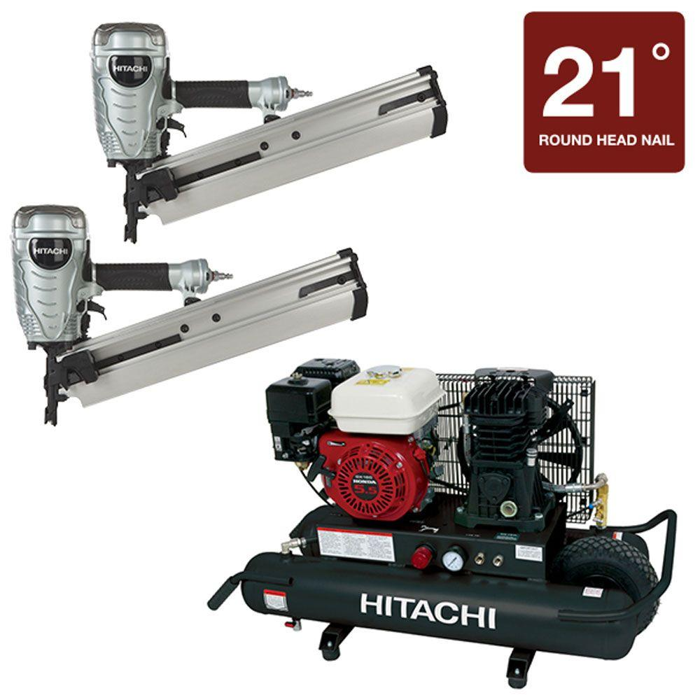 Hitachi (2) 3-1/2 in. Plastic Collated Framing Nailer and 8 Gal. Gas Powered Wheeled Air Compressor (3-Piece)