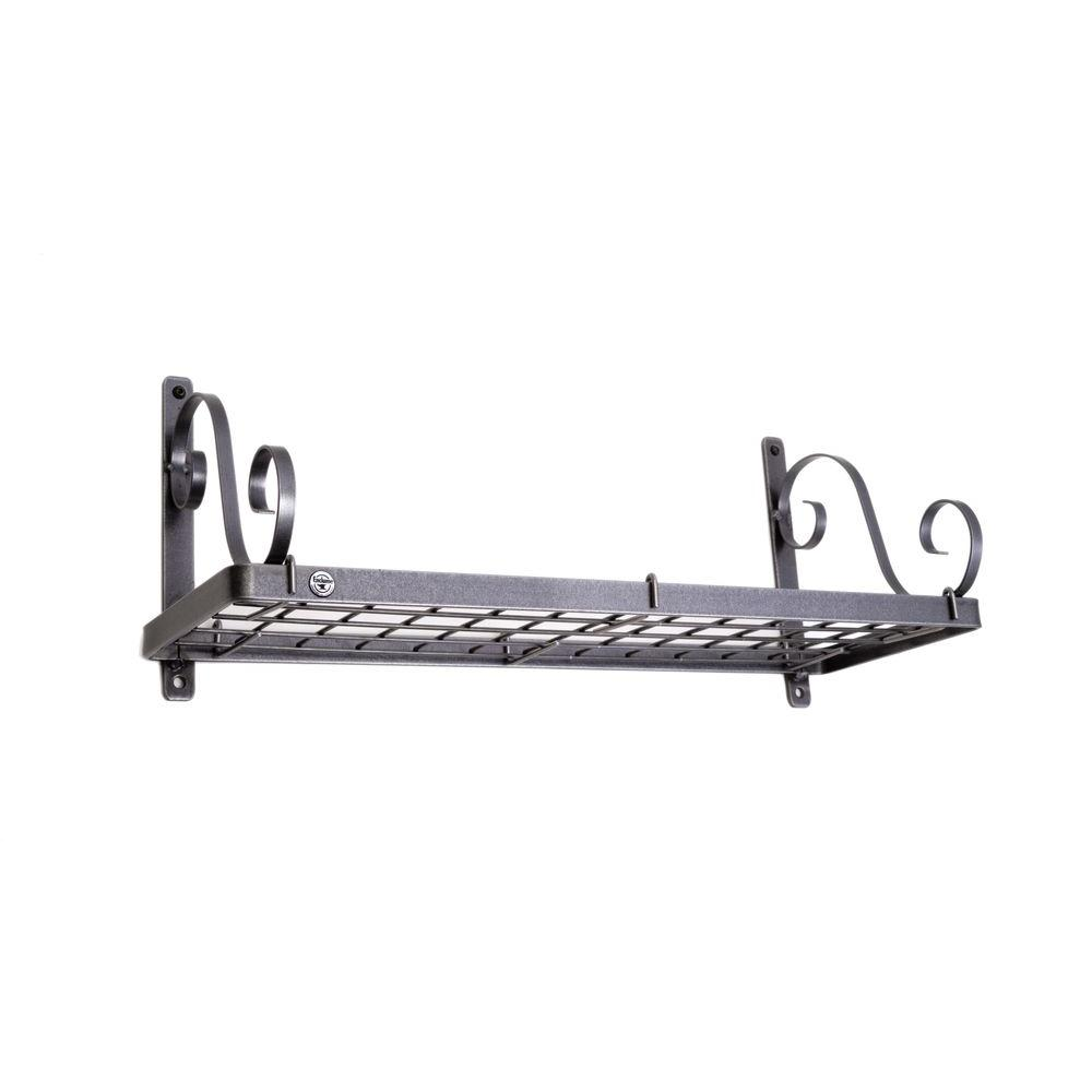 Decor Bookshelf Wall Pot Rack in Hammered Steel