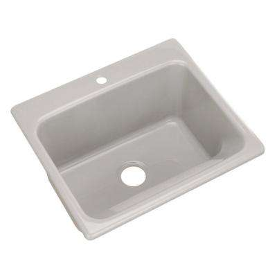 Kensington Drop-In Acrylic 25 in. 1-Hole Single Bowl Utility Sink in Ice Grey