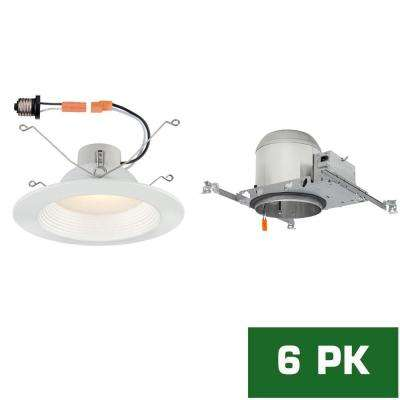 6 in. LED Recessed New Construction Housing with LED Recessed Baffle Trim Kit, 3000k (6-Pack)