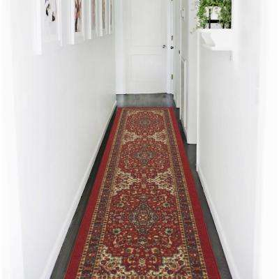 Ottohome Collection Traditional Persian All-Over Pattern Design Dark Red 2 ft. x 7 ft. Runner Rug