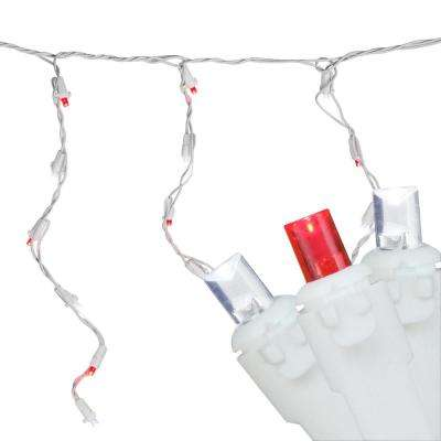 6.75 ft. 100-Light Red and Pure White LED Wide Angle Icicle Lights