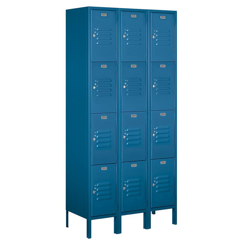 64000 Series 36 in. W x 78 in. H x 15 in. D 4-Tier Metal Locker Unassembled in Blue