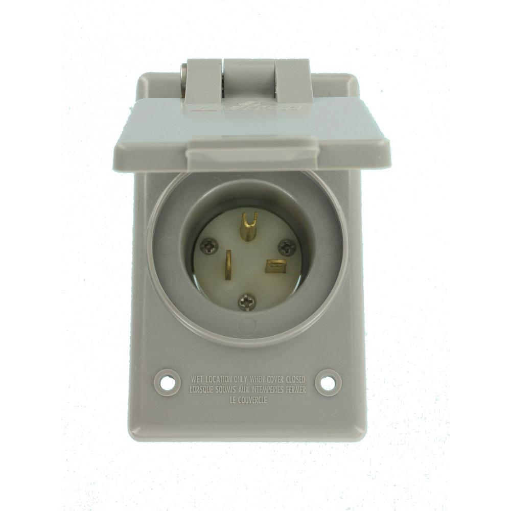 Leviton 20 Amp 250-volt Straight Blade Grounding Power Inlet Outlet  Gray-5478-cwp