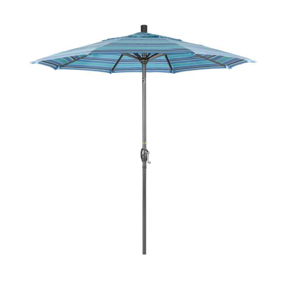 7.5 ft. Grey Aluminum Market Push Button Tilt Crank Lift Patio Umbrella in Dolce Oasis Sunbrella