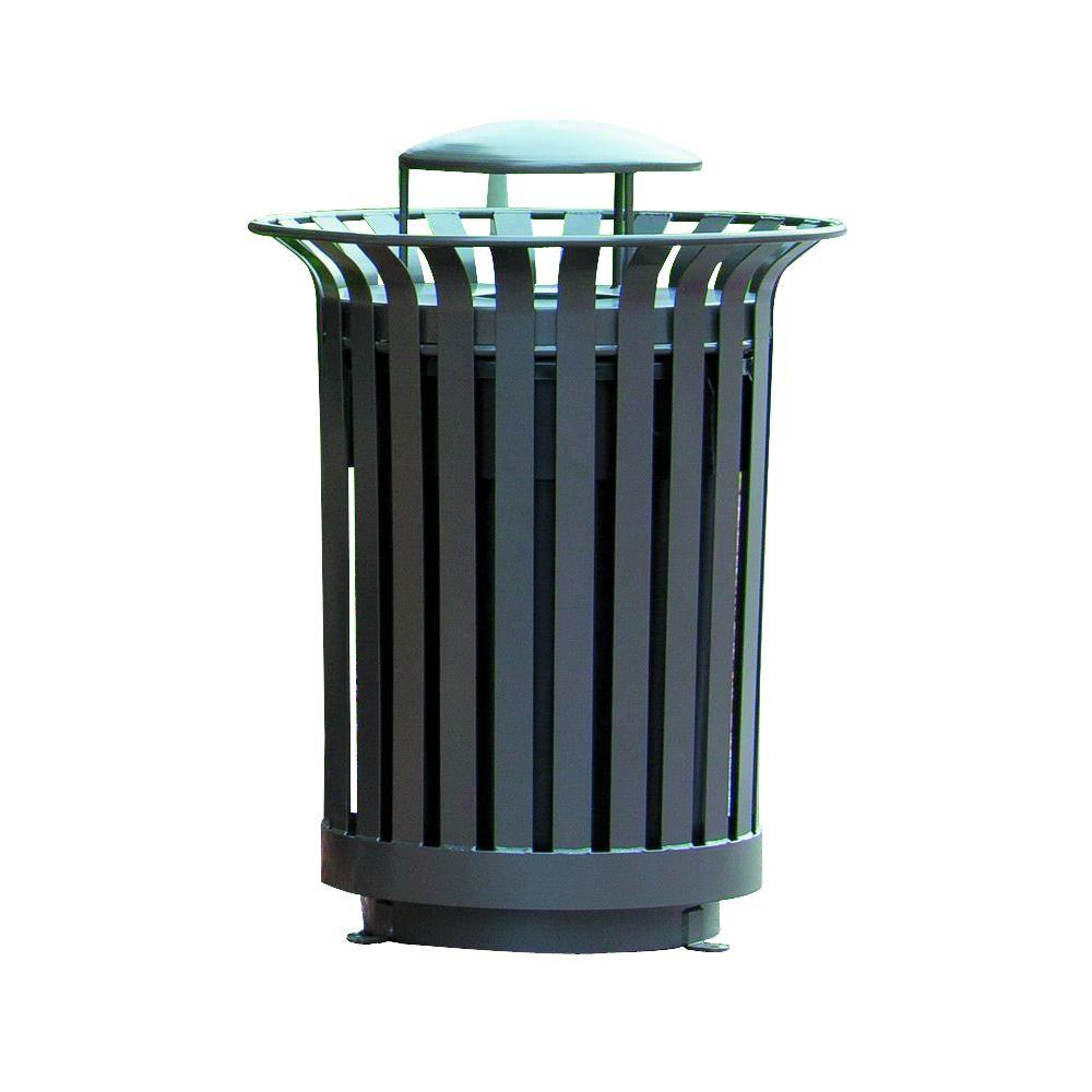 Ultra Play 36 Gal. Lexington Trash Receptacle with Rain Bonnet Lid and Liner Outdoor Trash Can