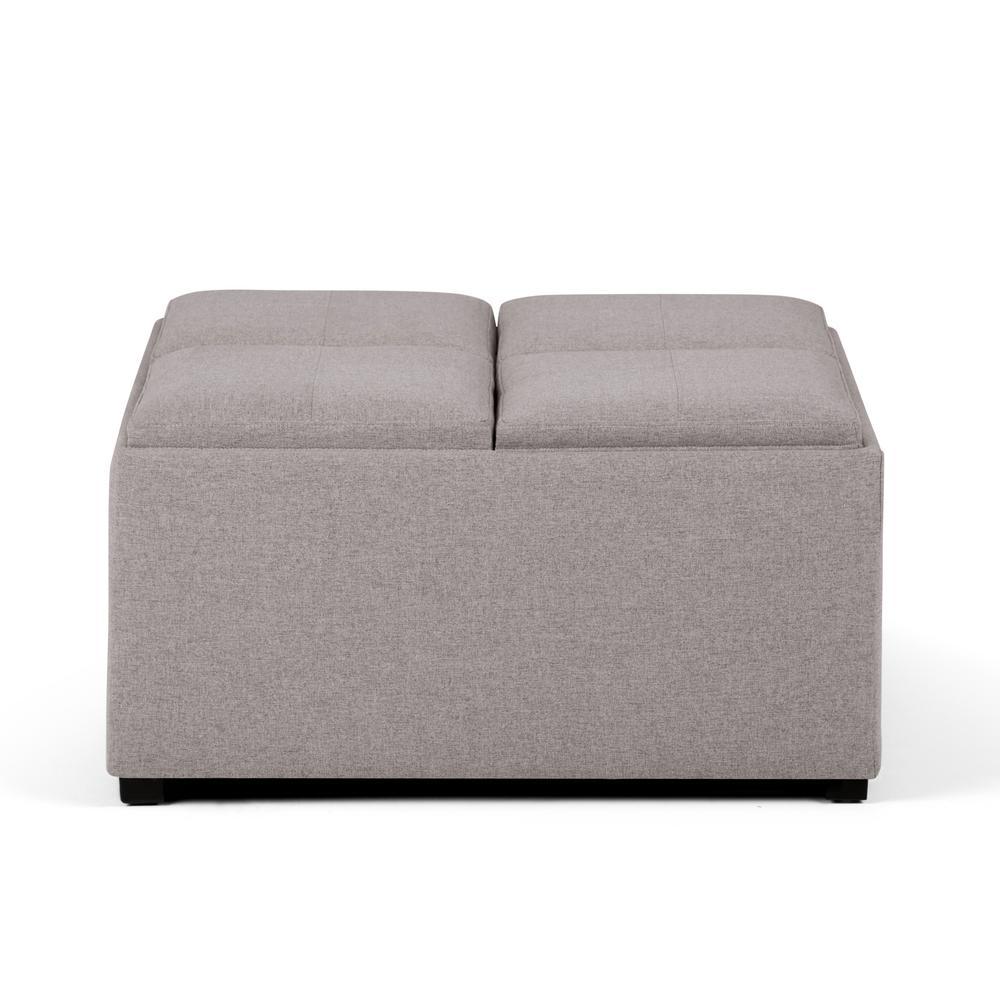 Simpli Home Avalon 35 In Contemporary Square Storage Ottoman In