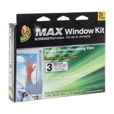 62 in. x 126 in. Crystal Clear Heavy Duty Window Kit Shrink Film (3-Pack)