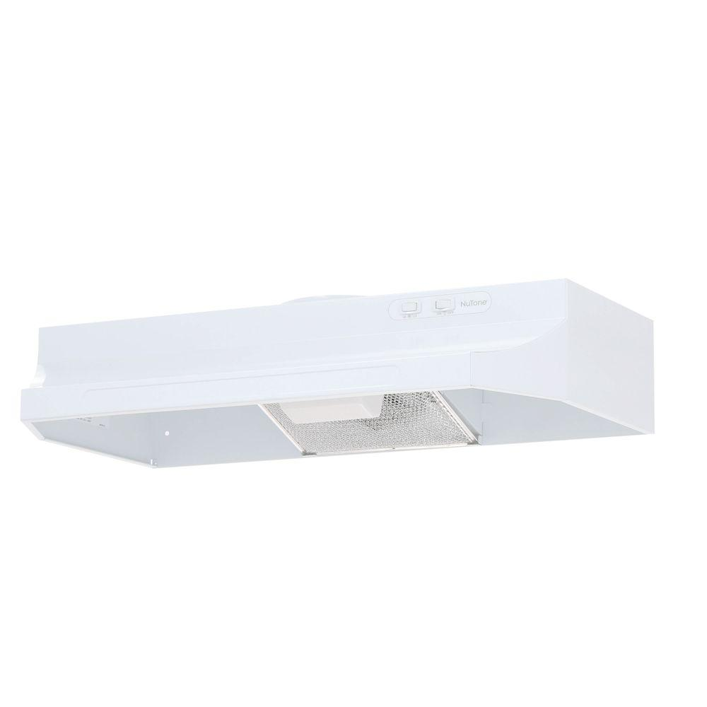 NuTone RL6300 Series 30 in. Under Cabinet Range Hood with Light in White Quality construction and ease of installation make the RL6300 the popular choice in vertically-ducted economy hoods. It has mitered sides and bottom hem for safety and good looks. It uses rocker-type switches for the fan and light. A damper can be purchased separately. Color: White.