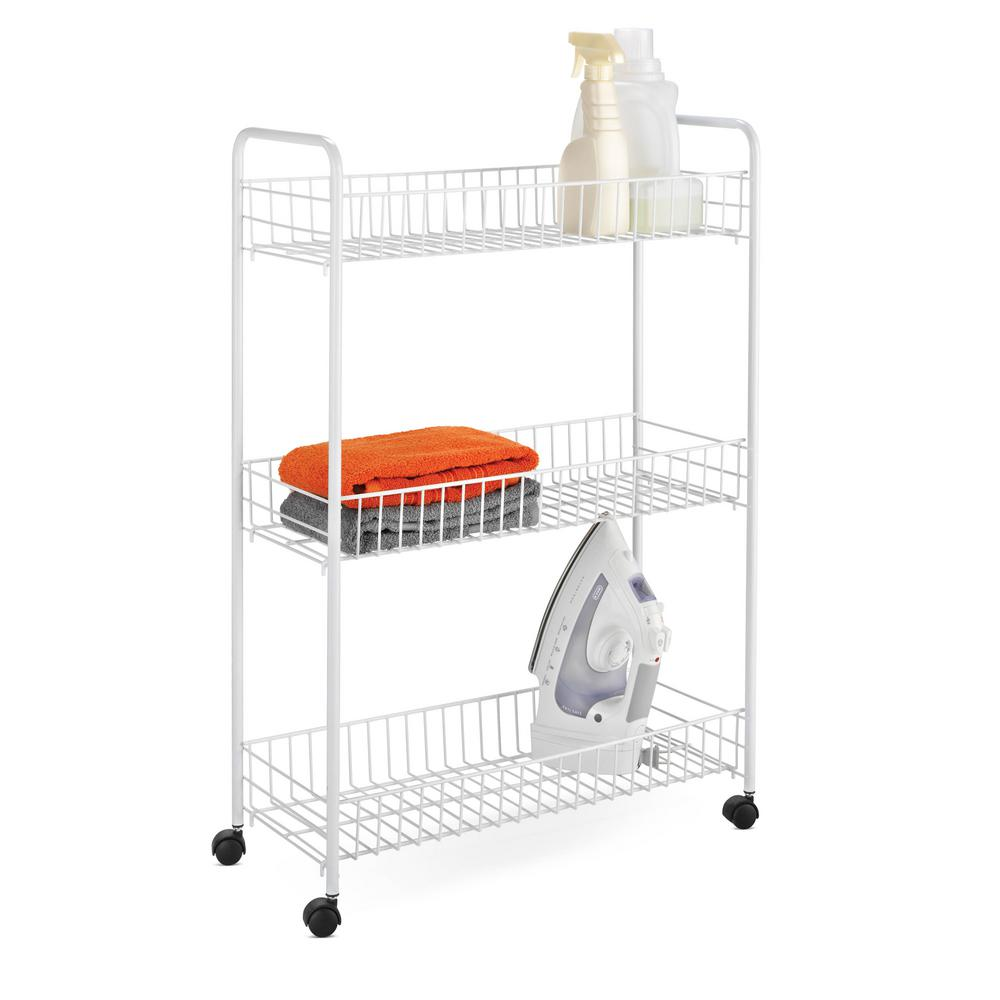 Honey Can Do 3 Tier Rolling Household Storage Cart White Crt 01149