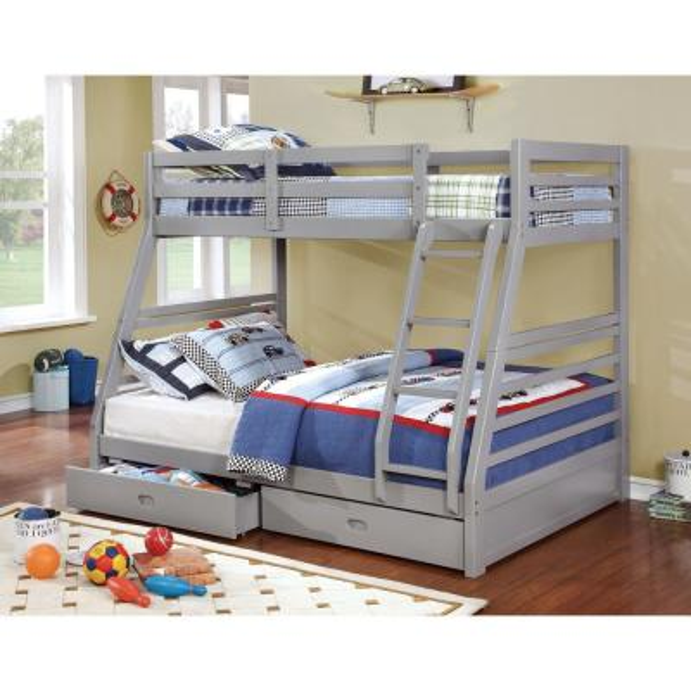 California III Twin & Full Bunk Bed with 2 Drawers in Gray finish