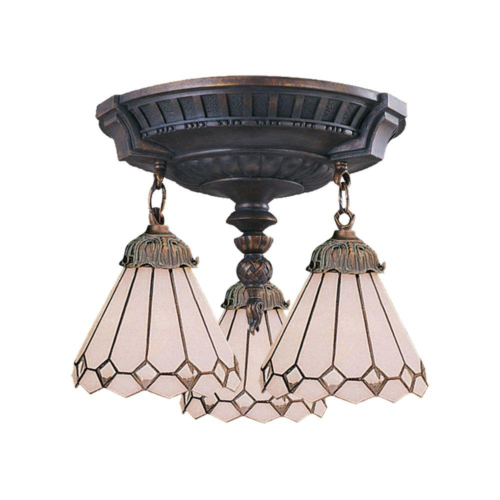 Titan Lighting 3-Light Aged Walnut Ceiling Semi-Flush Mount Light
