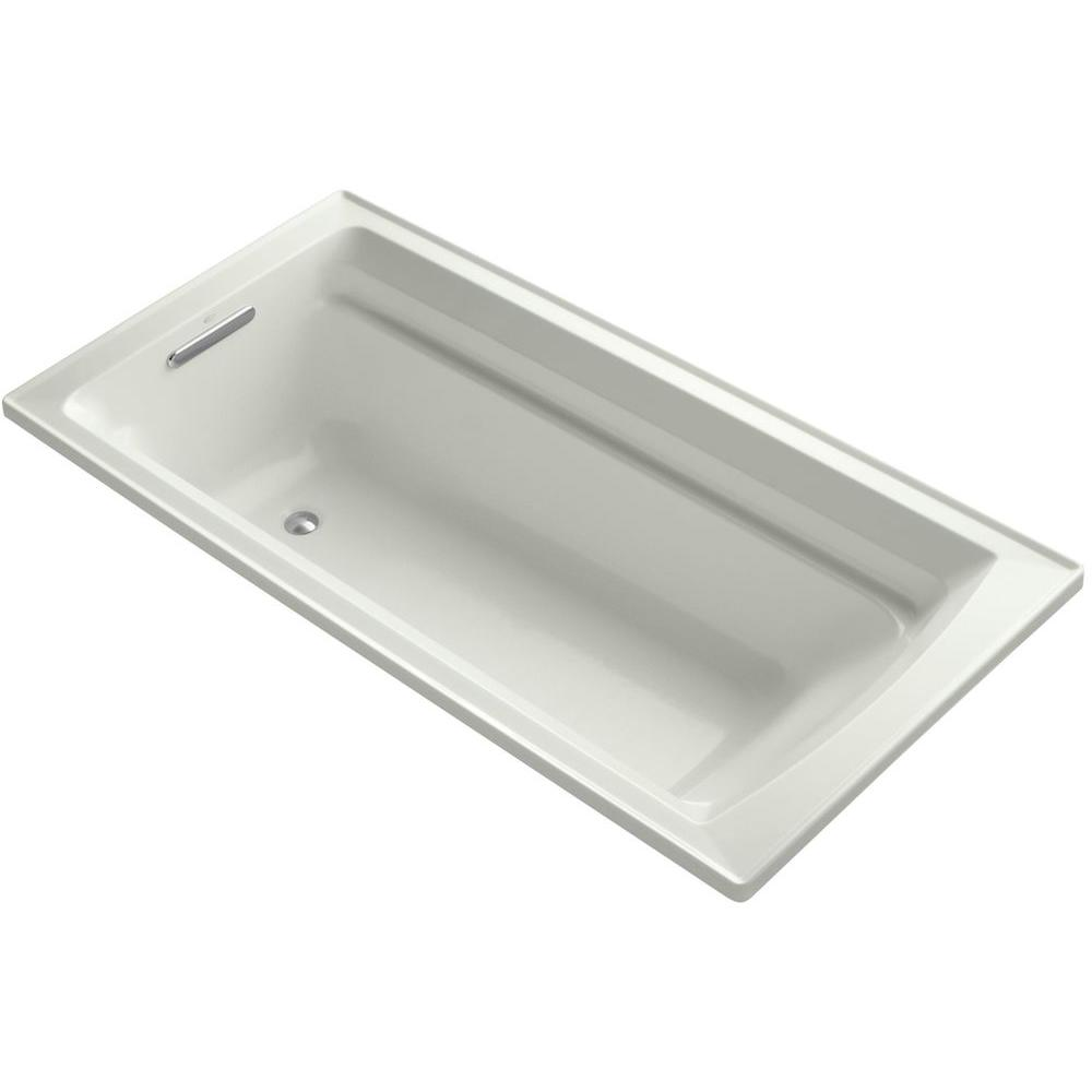 KOHLER Archer 6 ft. Reversible Drain Soaking Tub in Dune with Bask ...