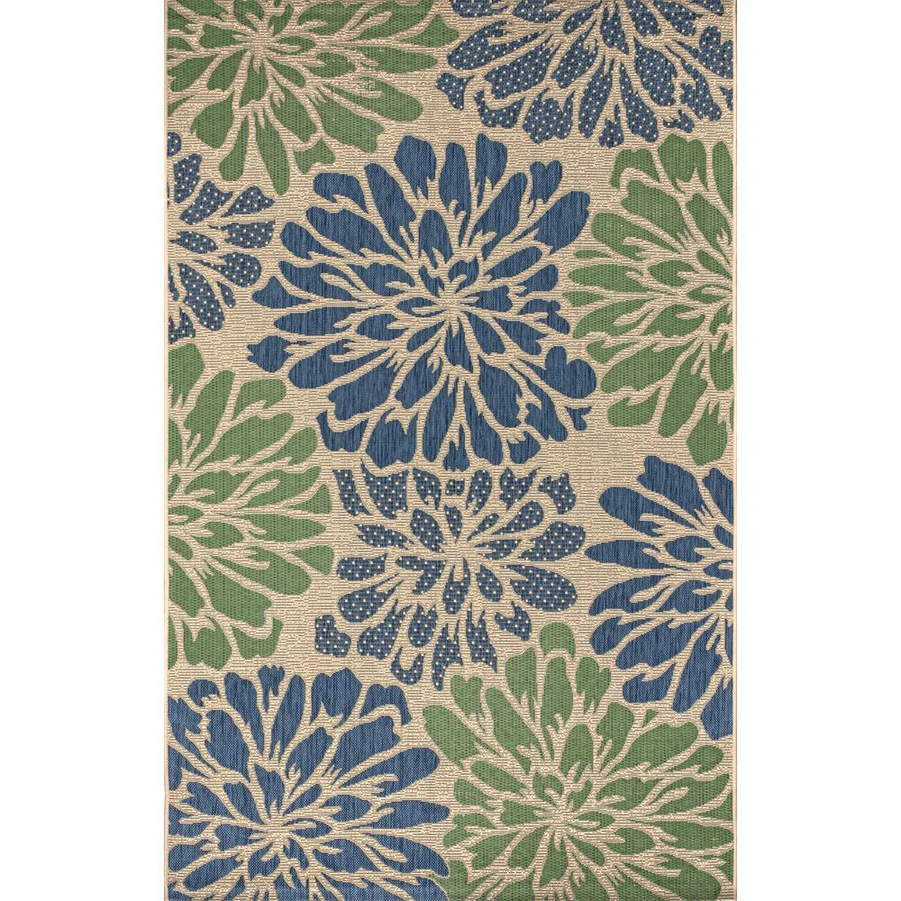 Zinnia Modern Floral Navy/Green 7 ft. 9 in. x 10 ft. Textured Weave Indoor/Outdoor Area Rug
