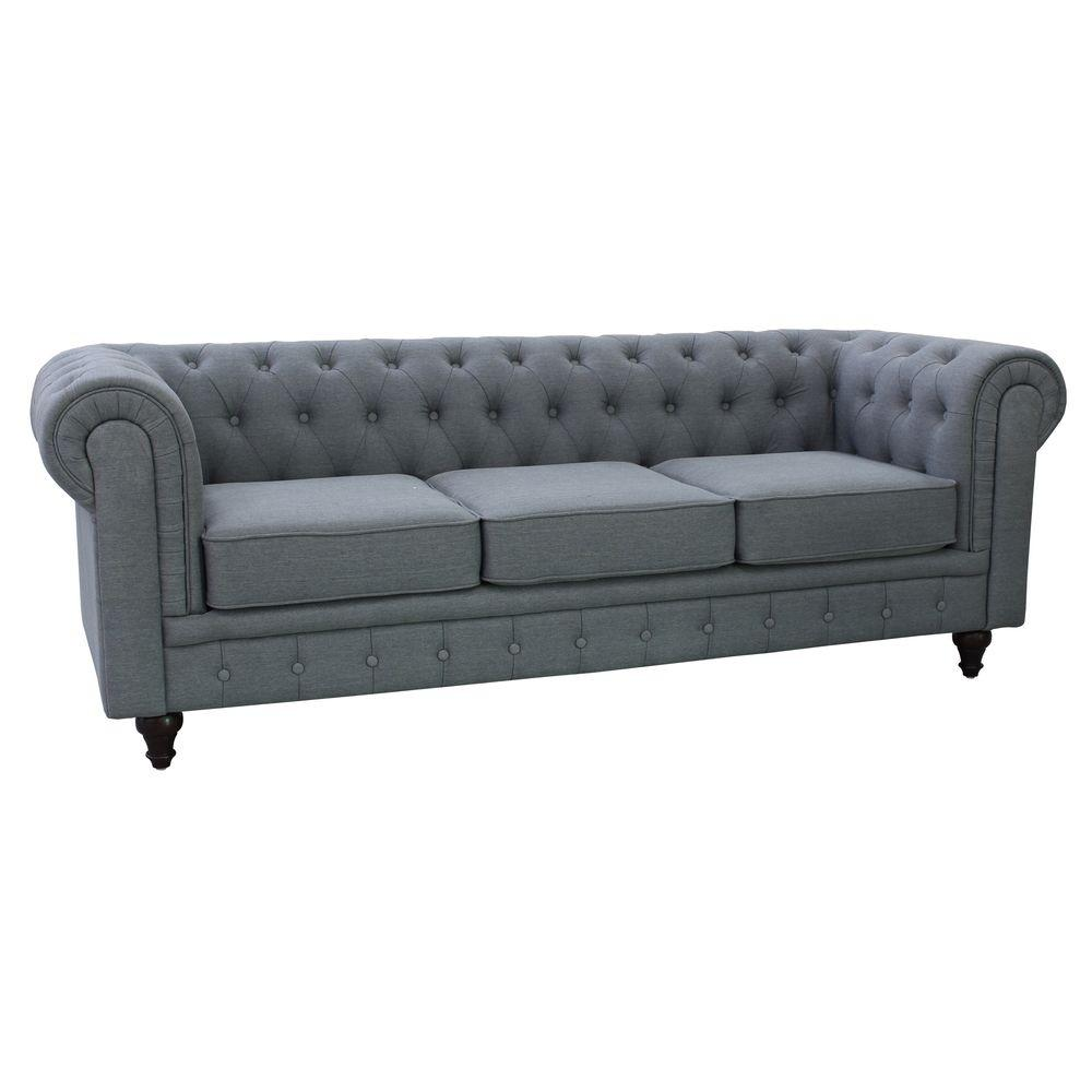 Grace Chesterfield Linen Fabric Upholstered On Tufted Sofa Grey