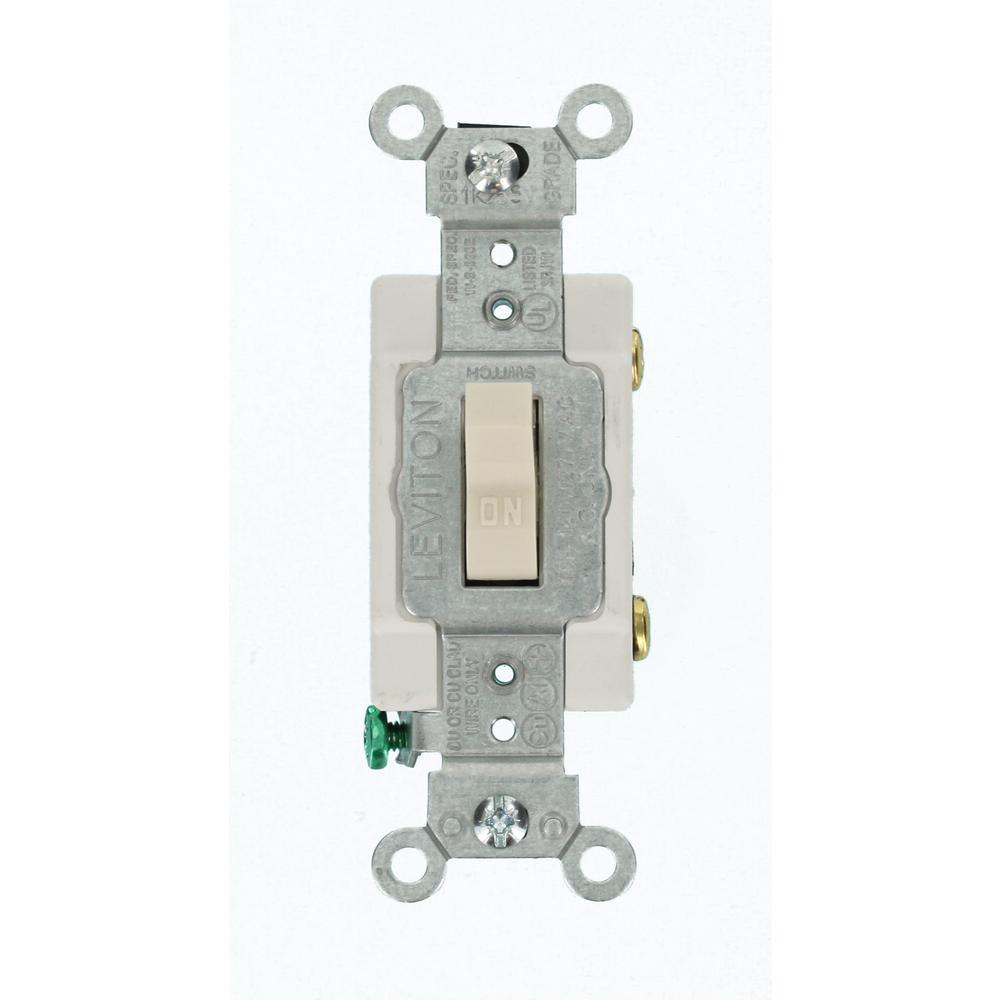 Leviton 15 Amp Commercial Grade Single Pole Toggle Switch, Light ...
