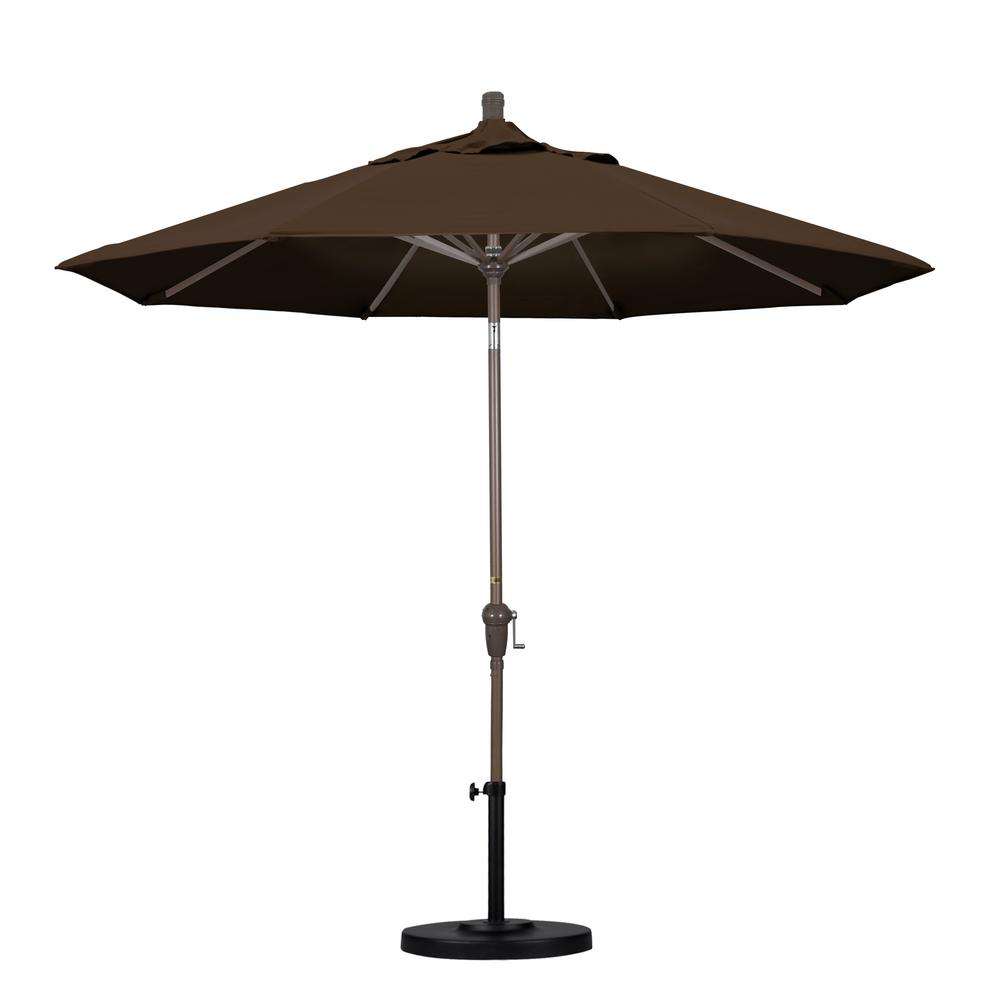 9 ft. Aluminum Auto Tilt Patio Umbrella in Mocha Pacifica