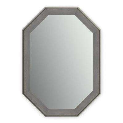 33 in. x 46 in. (L3) Octagonal Framed Mirror with Standard Glass and Easy-Cleat Float Mount Hardware in Weathered Wood