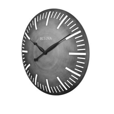 24 in. H x 24 in. W Curved Silver Tone All Metal Case Round Wall Clock