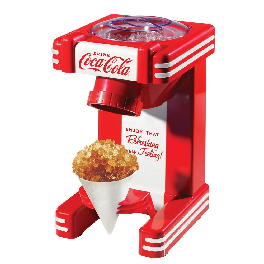 Nostalgia Coca-Cola Snow Cone Maker, Red The Nostalgia RSM702COKE Coca-Cola Single Snow Cone Maker makes delicious snow cones anytime! Simply add ice to the top compartment, and let the stainless steel cutting blades do the rest. Makes one snow cone at a time and includes a reusable snow cone cup. Color: Red.