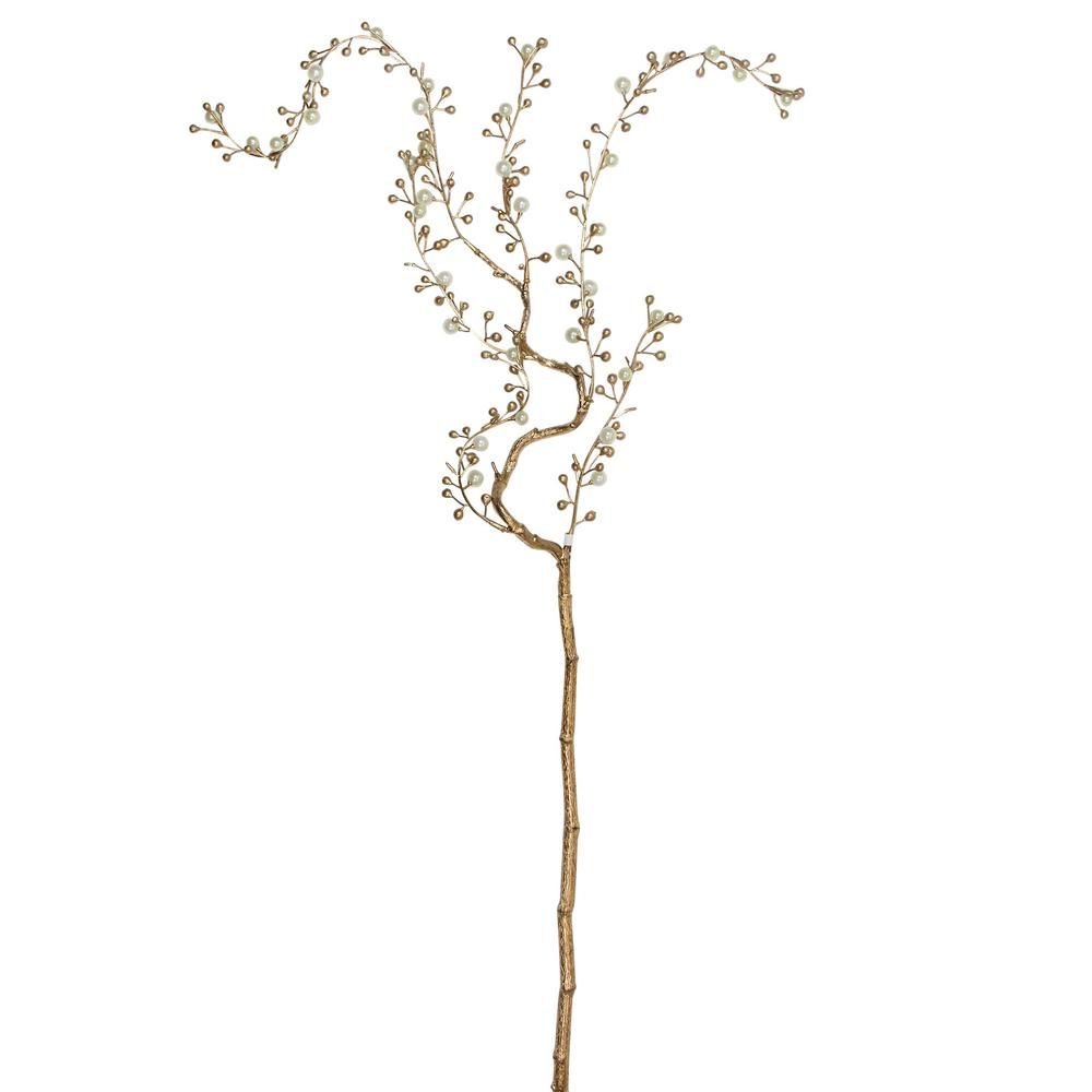 Northlight 39 in. Decorative Pearl and Gold Willow Artificial Branch Spray