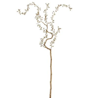 39 in. Decorative Pearl and Gold Willow Artificial Branch Spray