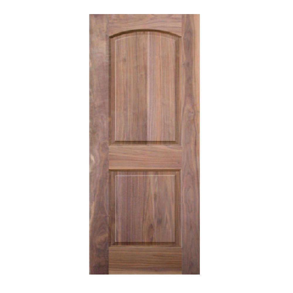 Krosscore 2-Panel Arch Top Honeycomb Core Walnut Wood Single Prehung Interior Door