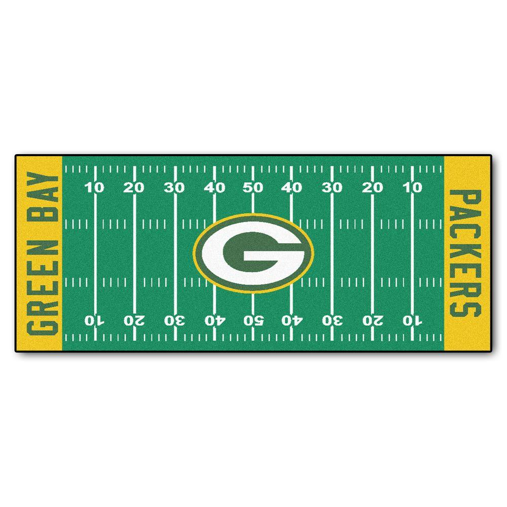 Fanmats Green Bay Packers 3 Ft X 6 Ft Football Field Rug Runner Rug 7352 The Home Depot