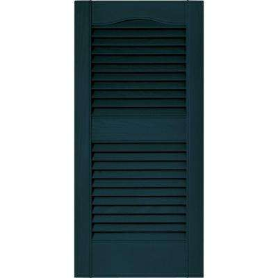15 in. x 31 in. Louvered Vinyl Exterior Shutters Pair in #166 Midnight Blue