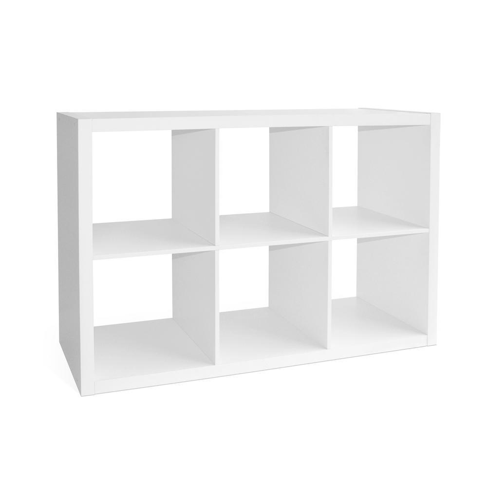 14.57 in. x 43.31 in. x 30 in. White 6 Cube Organizer