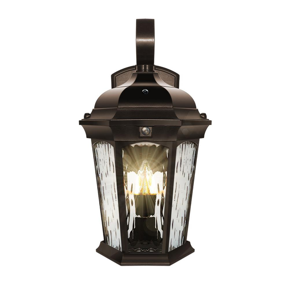 Euri Lighting 2-Light 14.6 in Bronze Motion Sensing Integrated LED Outdoor Wall Lantern Sconce with Flickering Bulb/Clear Glass