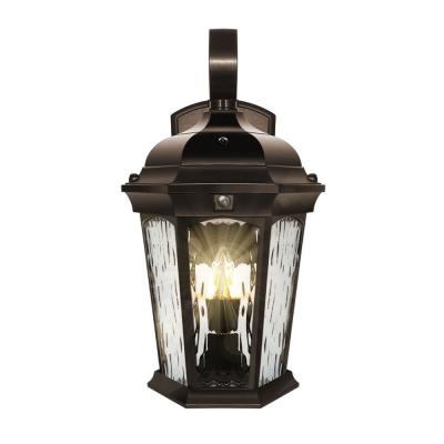 2-Light 14.6 in Bronze Motion Sensing Integrated LED Outdoor Wall Lantern Sconce with Flickering Bulb/Clear Glass