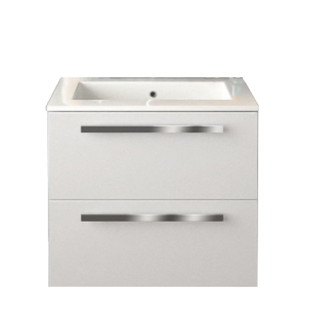 LaToscana Ambra 24 in. W x 18-1/10 in. D Bath Vanity in Glossy Red with Tekorlux Vanity Top in White with White Basin