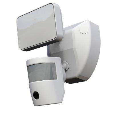 Video Wi-Fi Connected White Wired Single Head Motion Activated Outdoor Security Integrated LED Flood Light 1200 Lumens