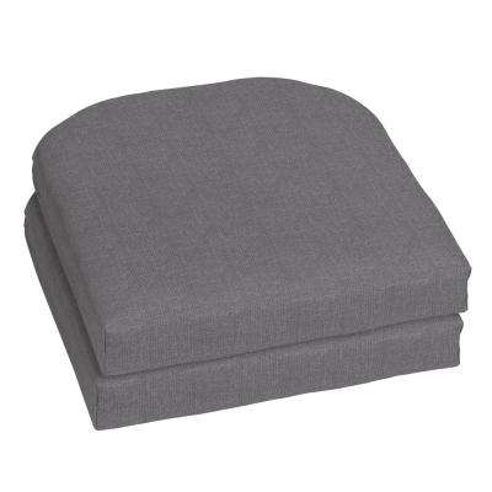 Sunbrella Cast Slate Contoured Outdoor Seat Cushion (2-Pack)