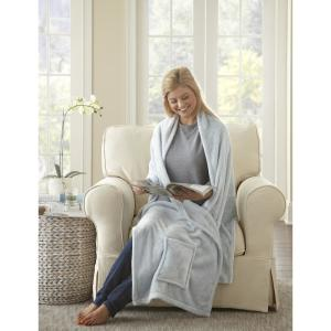 MHF Home Ultra-Plush Readers Wrap Shawl Throw Blanket with Pockets, White
